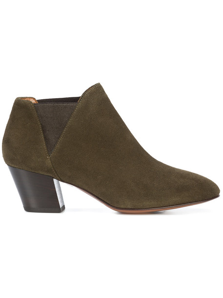 women leather suede green shoes