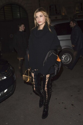 lace up boots all black everything hailey baldwin sweater purse paris fashion week 2016 fashion week 2016 streetstyle model off-duty