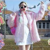 jacket,cute,cute sweaters,coat,kawaii,pink,pastel,fuzzy jacket,fluffy,furry coat