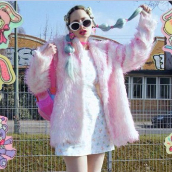 pink pastel cute kawaii fur coat jacket cute sweaters coat fuzzy sweater fuzzy jacket fuzzy furry furry coat