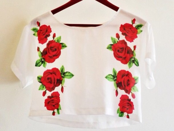 Tank top tank top crop top floral red flowers flowers white tank top tank top crop top floral red flowers flowers white t shirt t shirt clothes blouse wheretoget mightylinksfo