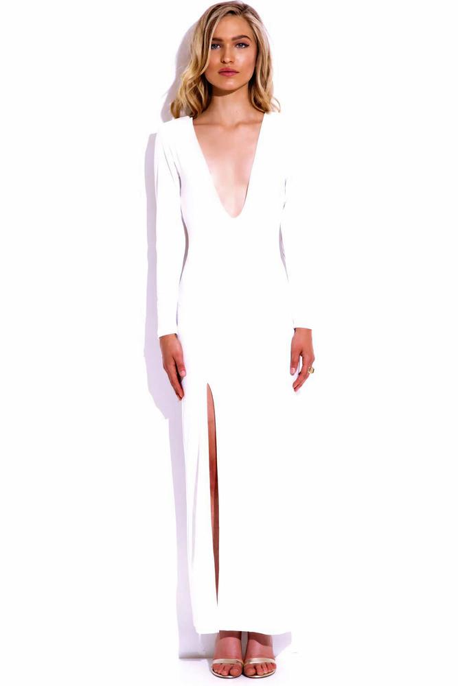 Ivory deep maxi dress