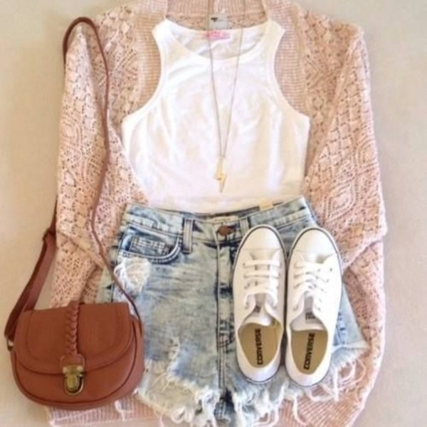 shorts summer outfits bag shoes t-shirt jewels sweater shirt converse