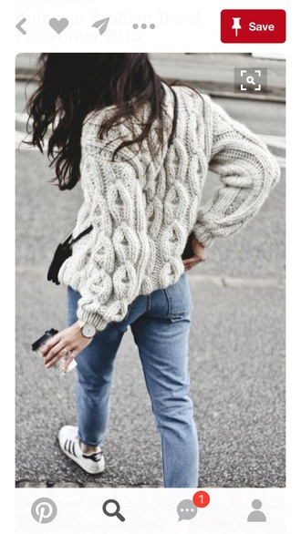 sweater cable knit grey sweater knitted sweater