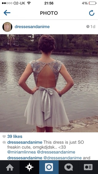 dress prom dress grey short prom dress instagram bow hair tumblr cut-out backless dress backless prom dress pleated skirt