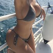 swimwear,bikini,grey,holidays,bikini top,bikini bottoms,cotton,gold detail