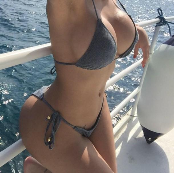 swimwear bikini grey holidays bikini top bikini bottoms cotton gold detail