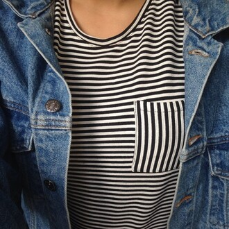 shirt stripes tumblr black white black and white girl girly basic classy cool jacket hipster grunge pocket sweet nice t-shirt