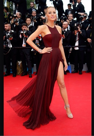 dress wine dress red carpet blake lively dress