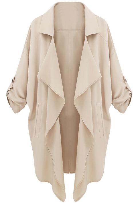 Beige Long Sleeve Casual Loose Pockets Coat - Sheinside.com