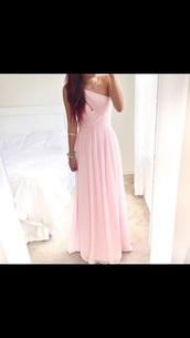 dress,pink,long,pale,pretty,formal,party,cute,cute dress,halter dress,lovely