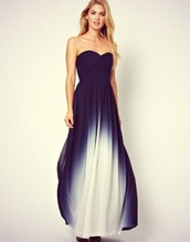 dress,ombre,maxi dress,navy,ombre dress,long prom dress,strapless dress,beautifuldress,formal event outfit,blue dress,blue and white,prom dress