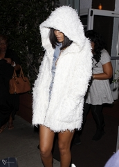 coat,rihanna,furry coat,white,hooded coat,long fur coat
