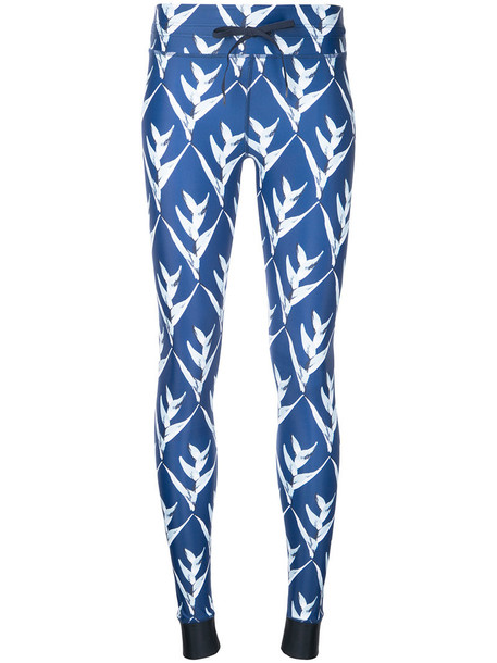 leggings women spandex print blue pants