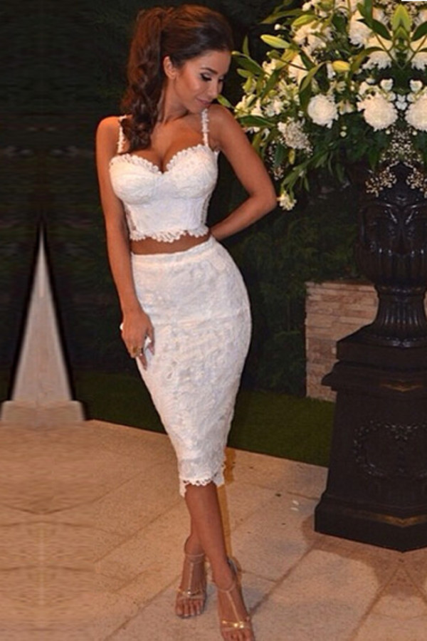 white dress lace dress two-piece long skirt dress two piece lace 2 piece skirt set