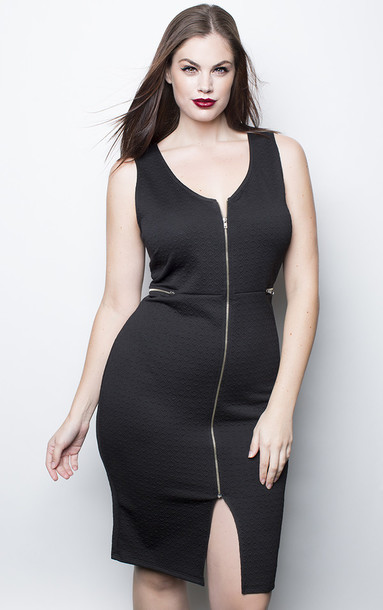 Dress Chloe Marshall Model Curvy Plus Size Slit Dress Black