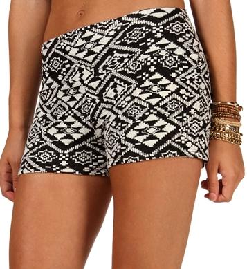 Black/Ivory Tribal Print High Waisted Shorts
