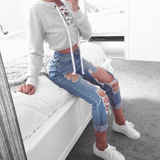 cropped sweater cropped lace up high waisted jeans skinny jeans ripped jeans white sneakers sneakers top grey top jumper lace up jumper grey grey white