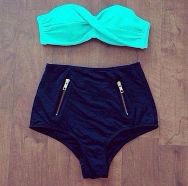 5c97488088670 swimwear, mint, bandeau bikini, high bottoms, high waisted bikini ...