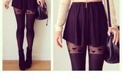 tights,hearts tights,mini skirt,black skirt