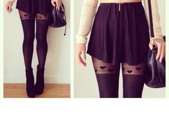 tights hearts tights mini skirt black skirt