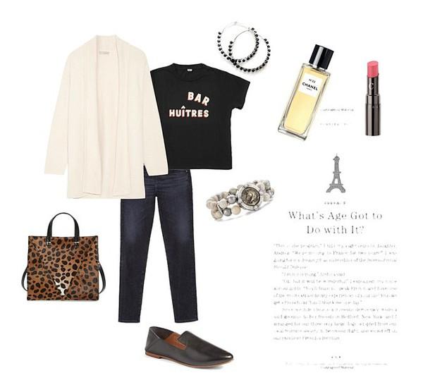 c15876d6cfc unefemme blogger cardigan t-shirt jewels bag jeans shoes animal print bag  loafers.