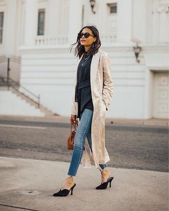coat nude coat top black top sunglasses shoes black shoes mules duster coat jeans denim blue jeans skinny jeans