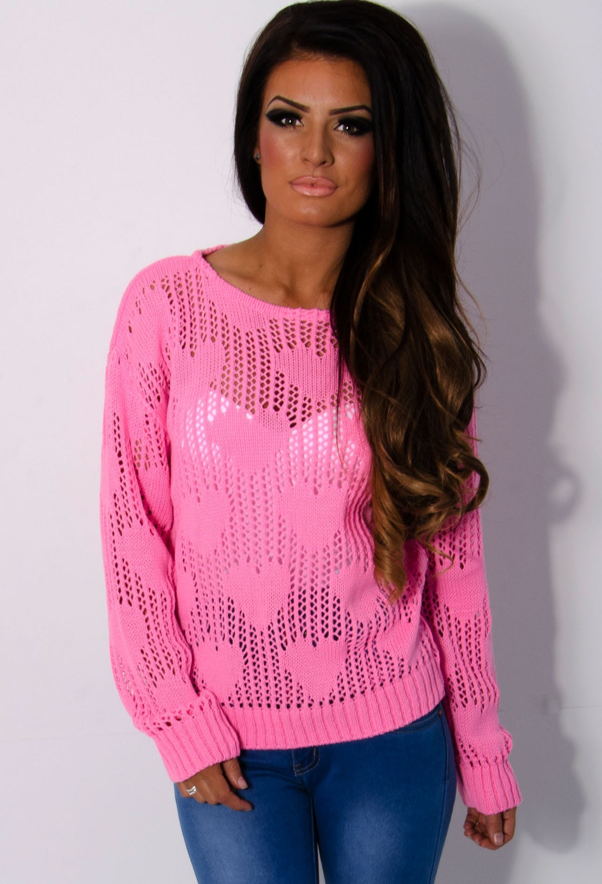 Polly Bright Pink Heart Knit Mesh Jumper | Pink Boutique