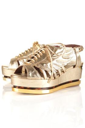 Chaussures ã plateforme dorã©es unique**