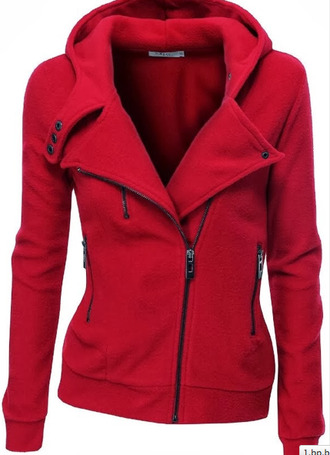coat red winter outfits jacket zip motorcycle jacket