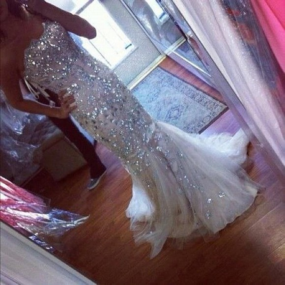 ivory dress dress prom sparkly gown long gown jewels fashion sparkling dress mermaid/trumpet wedding dresses sequin dress
