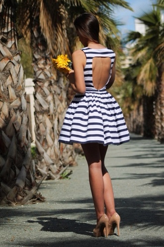 dress short stripes backless blue and white striped