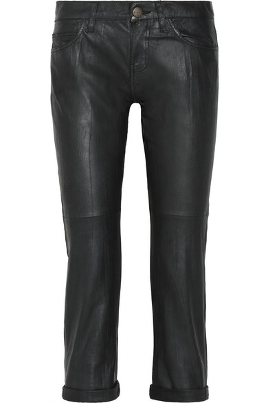 Current/Elliott | The Boyfriend washed-leather cropped pants | NET-A-PORTER.COM