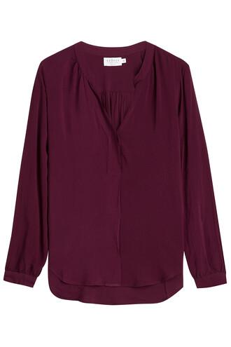 blouse v neck purple top