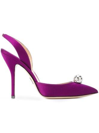 embellished pumps satin purple pink shoes