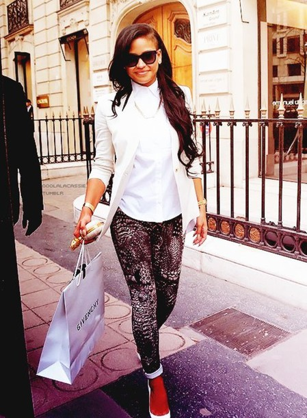 pants cassie ventura swag printed pants jacket