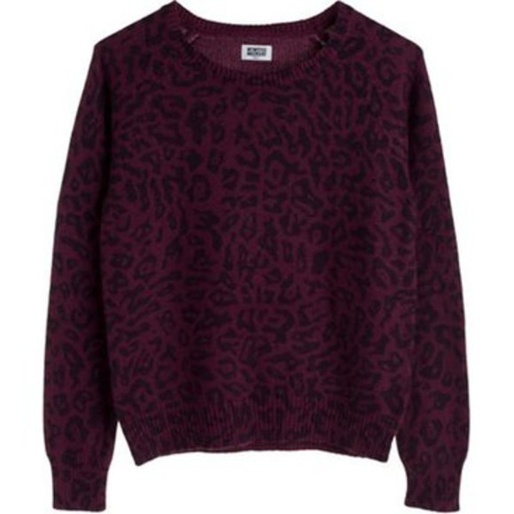 panther sweater winter sweater burgundy dark coat