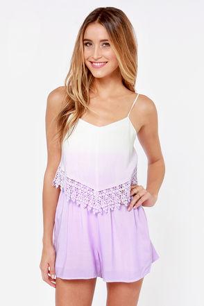 Cute Lavender Romper - Lace Romper - Ombre Romper - $48.00