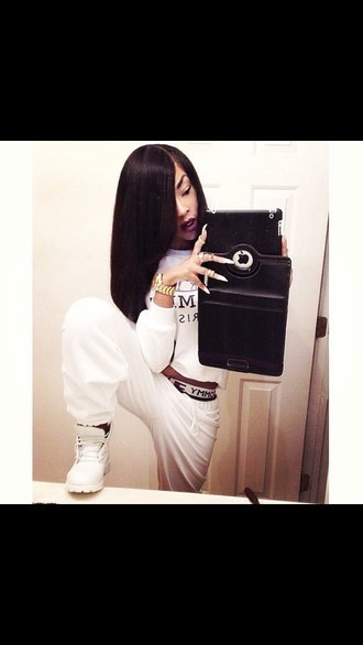 shoes white timberlands pants underwear jewels sweater shirt blouse tommy hilfiger jeans hermes white sweatpants timberlands homies joggers stiletto nails apple all white everything all white outfit jumpsuit clothes
