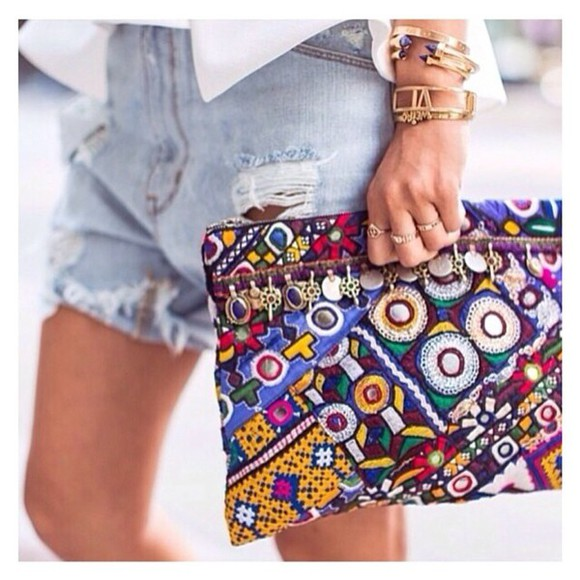 bag clutch colourful hippie zipper purse