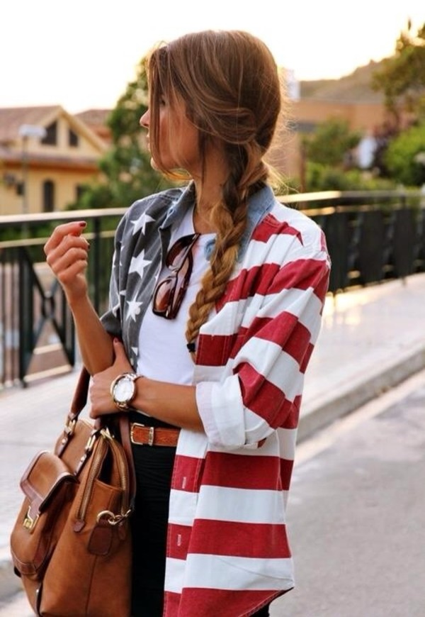 jacket american flag jacket blouse button up