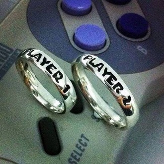jewels ring silver player gamer love couple friends gamer girls