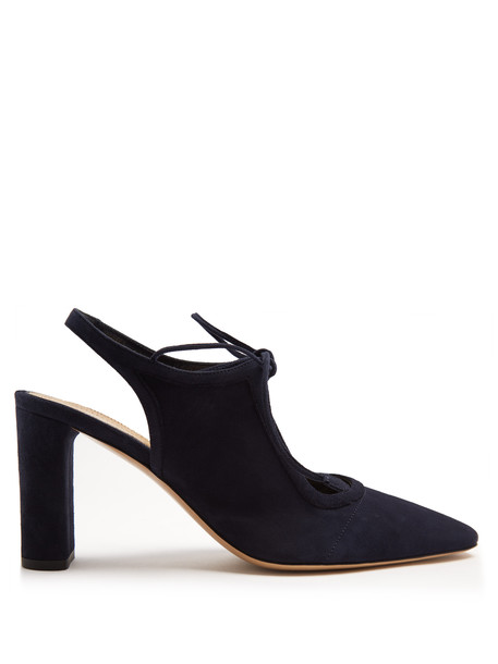 THE ROW Camil suede slingback pumps in navy