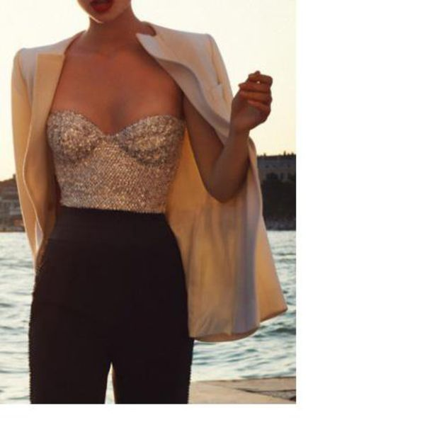 shirt tank top bustier corset top corset gold gold sequins wedding wedding clothes sequins pants sequin bouse blouse t-shirt bandeau jacket top gold dress fashion style outfit cardigan blazer nude glitter sexy Chic Sequined Tube Top For Women hot summer trendy strapless