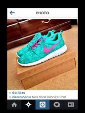 shoes,nike roshe run,nike,roshe runs,pink,teal