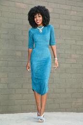 blogger,shoes,light blue,blue dress,long sleeves,statement necklace,long dress,blue shoes,suede dress