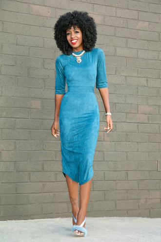 blogger shoes light blue blue dress long sleeves statement necklace long dress blue shoes suede dress
