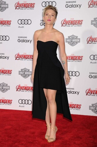 dress gown strapless prom dress scarlett johansson sandals red carpet dress high-low dresses shoes