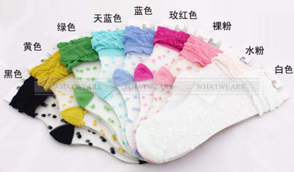 Womens Retro Sweet Polka Dot Lace Socks Thin Transparent Stockings A7003 | eBay