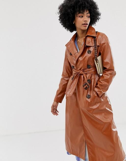 Warehouse patent trench coat in tan at asos.com